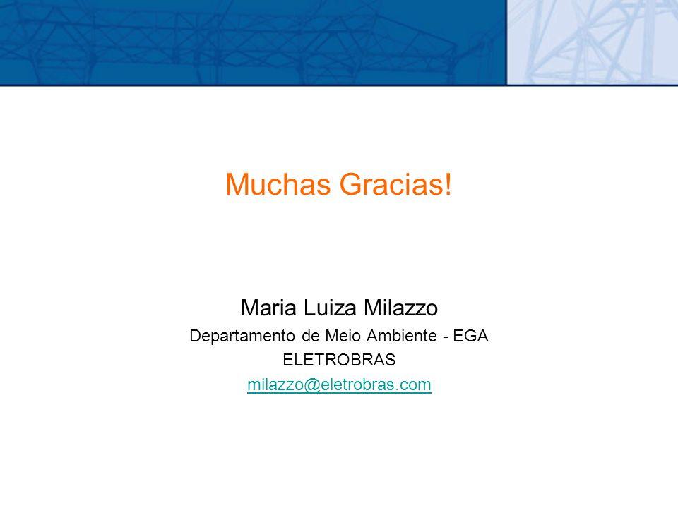 Muchas Gracias! Maria Luiza Milazzo Departamento de Meio Ambiente - EGA ELETROBRAS milazzo@eletrobras.com