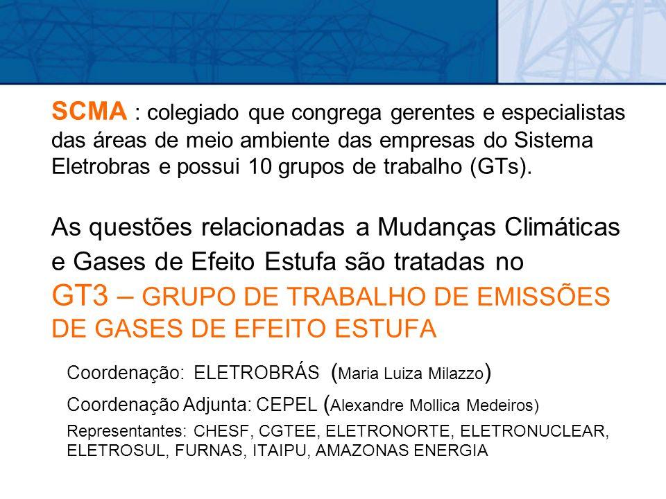 SCMA : colegiado que congrega gerentes e especialistas das áreas de meio ambiente das empresas do Sistema Eletrobras e possui 10 grupos de trabalho (G