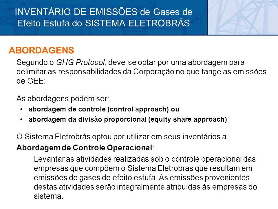 INVENTÁRIO DE EMISSÕES de Gases de Efeito Estufa do SISTEMA ELETROBRÁS ABORDAGENS Segundo o GHG Protocol, deve-se optar por uma abordagem para delimit