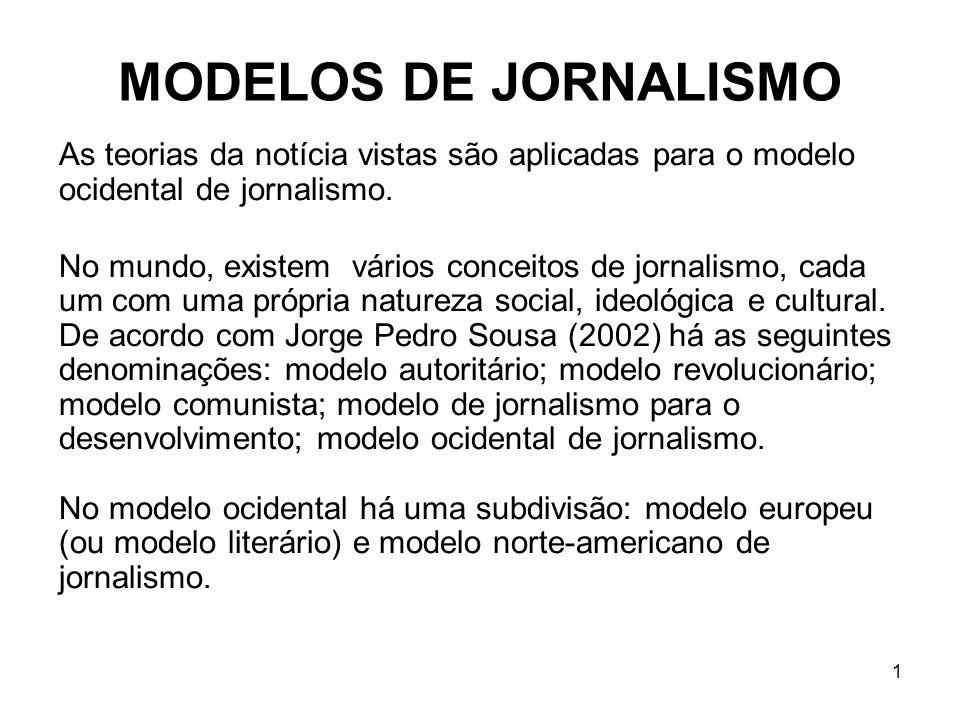 1 MODELOS DE JORNALISMO As teorias da notícia vistas são aplicadas para o modelo ocidental de jornalismo.