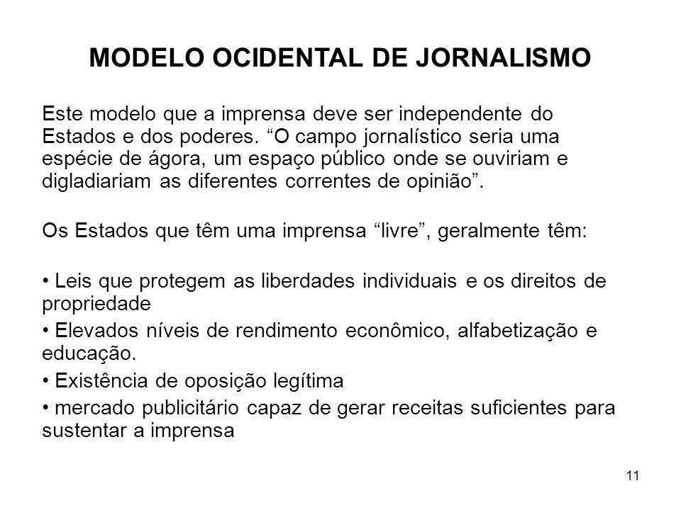 11 MODELO OCIDENTAL DE JORNALISMO Este modelo que a imprensa deve ser independente do Estados e dos poderes.