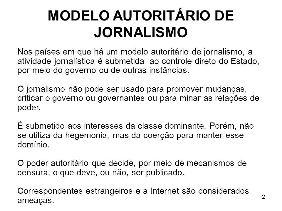 2 MODELO AUTORITÁRIO DE JORNALISMO Nos países em que há um modelo autoritário de jornalismo, a atividade jornalística é submetida ao controle direto do Estado, por meio do governo ou de outras instâncias.