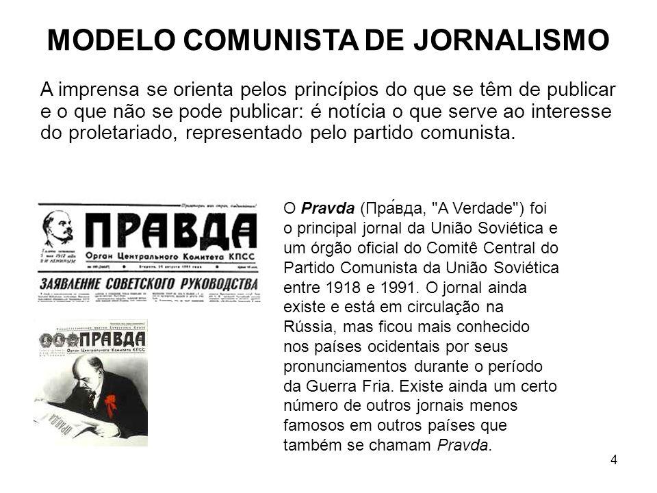 4 MODELO COMUNISTA DE JORNALISMO A imprensa se orienta pelos princípios do que se têm de publicar e o que não se pode publicar: é notícia o que serve ao interesse do proletariado, representado pelo partido comunista.