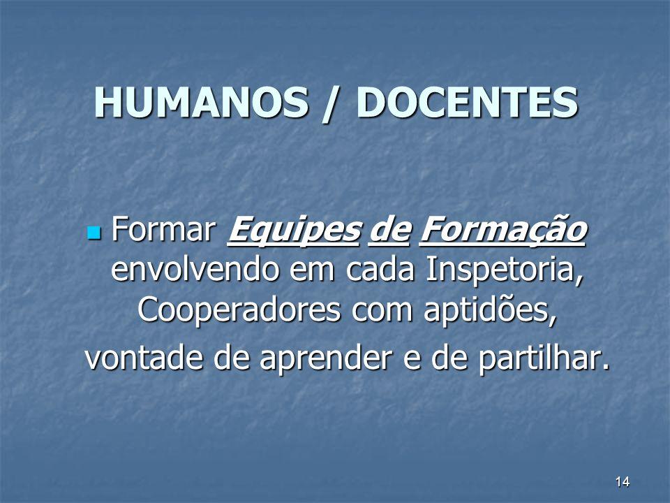 14 HUMANOS / DOCENTES Formar Equipes de Formação envolvendo em cada Inspetoria, Cooperadores com aptidões, Formar Equipes de Formação envolvendo em ca