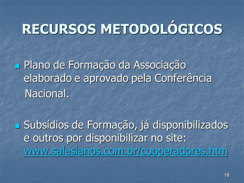 16 RECURSOS METODOLÓGICOS Plano de Formação da Associação elaborado e aprovado pela Conferência Plano de Formação da Associação elaborado e aprovado pela Conferência Nacional.