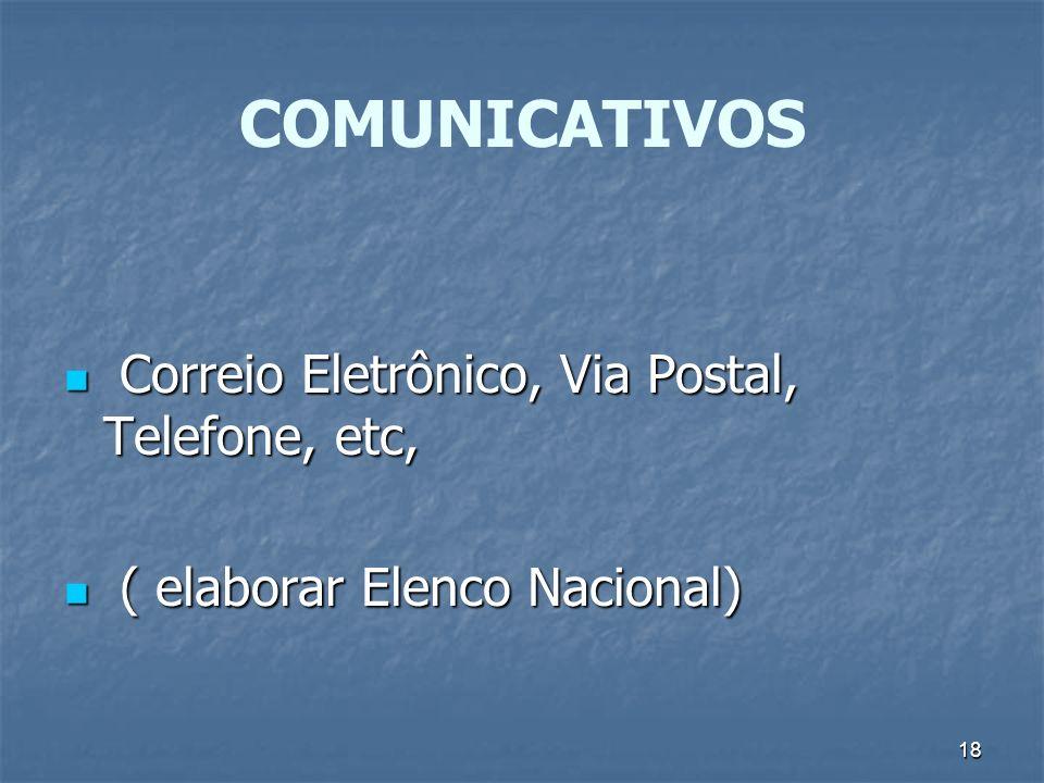 18 COMUNICATIVOS Correio Eletrônico, Via Postal, Telefone, etc, Correio Eletrônico, Via Postal, Telefone, etc, ( elaborar Elenco Nacional) ( elaborar
