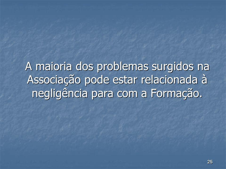 25 A maioria dos problemas surgidos na Associação pode estar relacionada à negligência para com a Formação. A maioria dos problemas surgidos na Associ