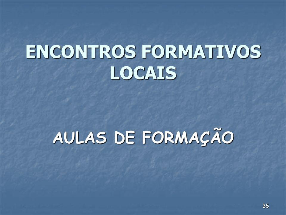 35 ENCONTROS FORMATIVOS LOCAIS AULAS DE FORMAÇÃO