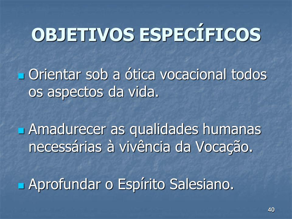 40 OBJETIVOS ESPECÍFICOS Orientar sob a ótica vocacional todos os aspectos da vida. Orientar sob a ótica vocacional todos os aspectos da vida. Amadure