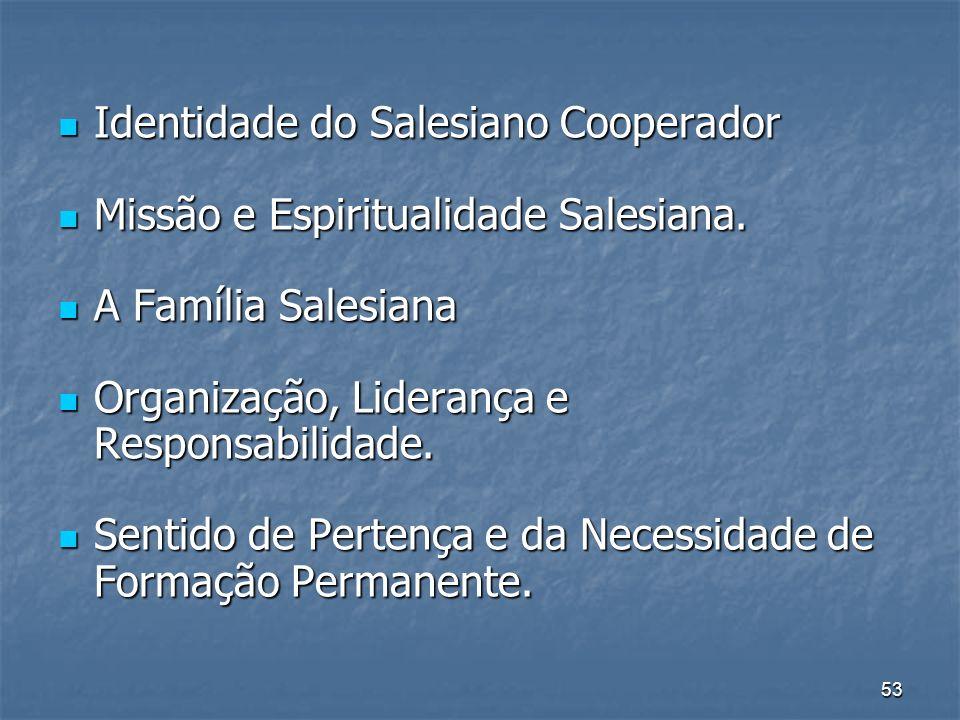 53 Identidade do Salesiano Cooperador Identidade do Salesiano Cooperador Missão e Espiritualidade Salesiana.