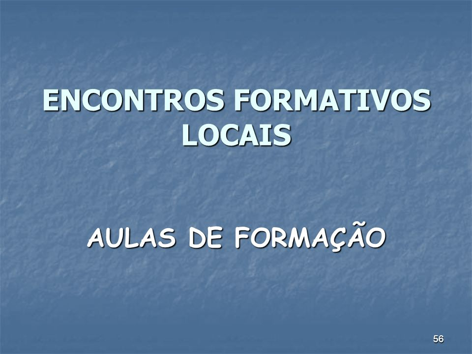 56 ENCONTROS FORMATIVOS LOCAIS AULAS DE FORMAÇÃO