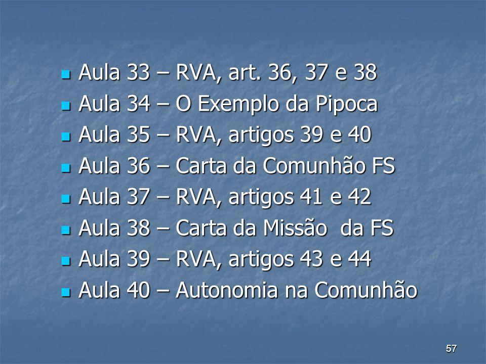 57 Aula 33 – RVA, art. 36, 37 e 38 Aula 33 – RVA, art. 36, 37 e 38 Aula 34 – O Exemplo da Pipoca Aula 34 – O Exemplo da Pipoca Aula 35 – RVA, artigos