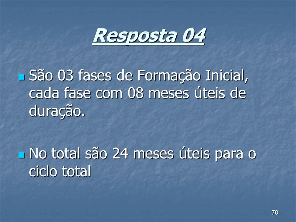 70 Resposta 04 São 03 fases de Formação Inicial, cada fase com 08 meses úteis de duração.