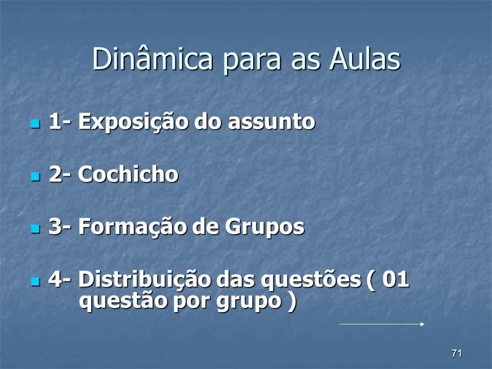 71 Dinâmica para as Aulas 1- Exposição do assunto 1- Exposição do assunto 2- Cochicho 2- Cochicho 3- Formação de Grupos 3- Formação de Grupos 4- Distribuição das questões ( 01 questão por grupo ) 4- Distribuição das questões ( 01 questão por grupo )