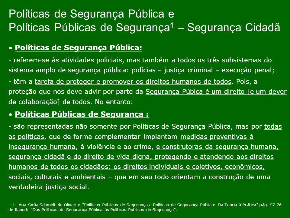 Políticas de Segurança Pública e Políticas Públicas de Segurança 1 – Segurança Cidadã Políticas de Segurança Pública: - referem-se às atividades polic