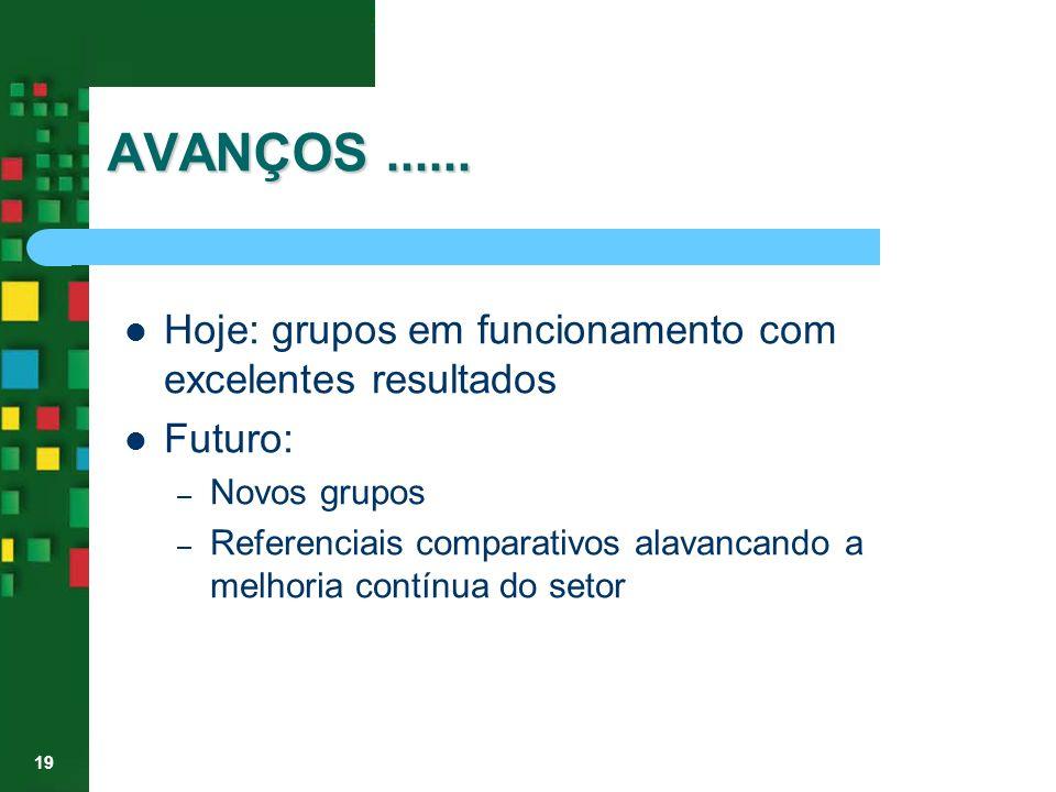 19 AVANÇOS...... Hoje: grupos em funcionamento com excelentes resultados Futuro: – Novos grupos – Referenciais comparativos alavancando a melhoria con