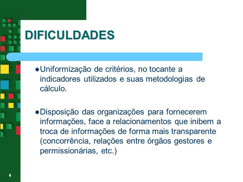4 DIFICULDADES Uniformização de critérios, no tocante a indicadores utilizados e suas metodologias de cálculo. Disposição das organizações para fornec