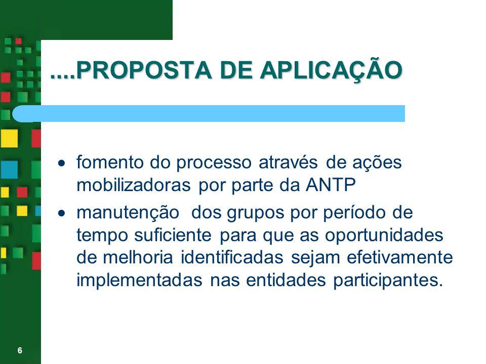 6....PROPOSTA DE APLICAÇÃO fomento do processo através de ações mobilizadoras por parte da ANTP manutenção dos grupos por período de tempo suficiente
