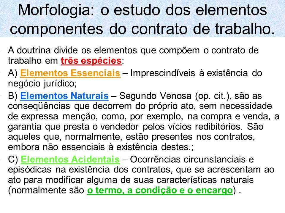 Morfologia: o estudo dos elementos componentes do contrato de trabalho. A doutrina divide os elementos que compõem o contrato de trabalho em três espé