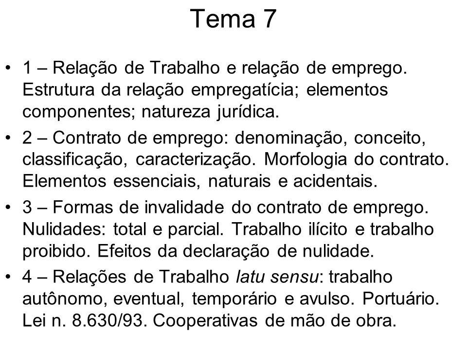 Tema 7 1 – Relação de Trabalho e relação de emprego. Estrutura da relação empregatícia; elementos componentes; natureza jurídica. 2 – Contrato de empr
