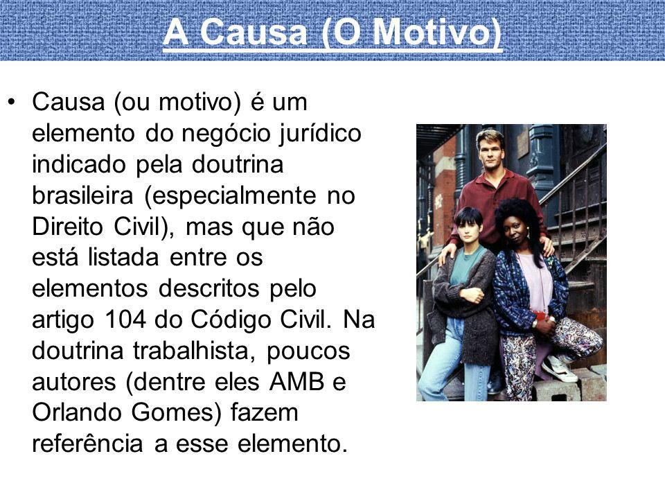 A Causa (O Motivo) Causa (ou motivo) é um elemento do negócio jurídico indicado pela doutrina brasileira (especialmente no Direito Civil), mas que não