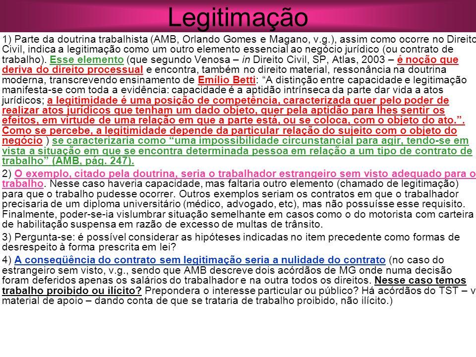Legitimação 1) Parte da doutrina trabalhista (AMB, Orlando Gomes e Magano, v.g.), assim como ocorre no Direito Civil, indica a legitimação como um out