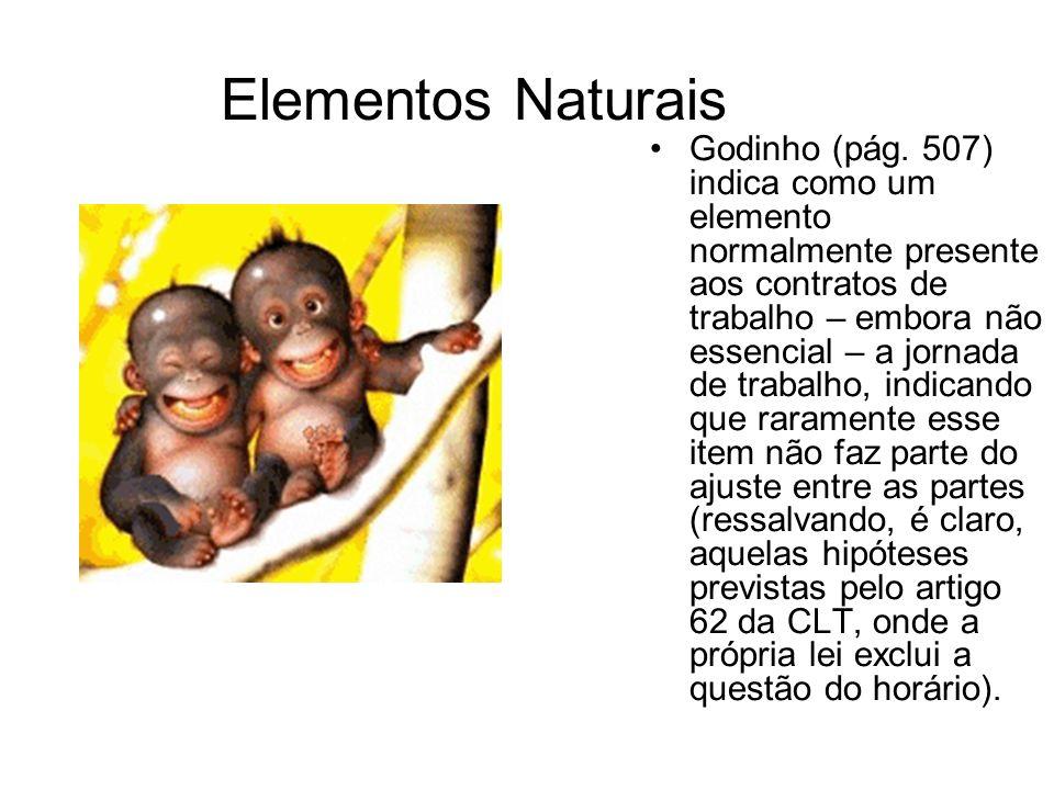 Elementos Naturais Godinho (pág. 507) indica como um elemento normalmente presente aos contratos de trabalho – embora não essencial – a jornada de tra