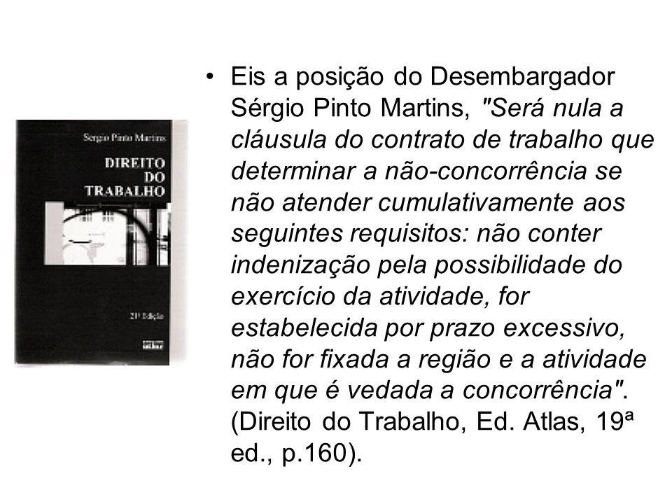 Eis a posição do Desembargador Sérgio Pinto Martins,