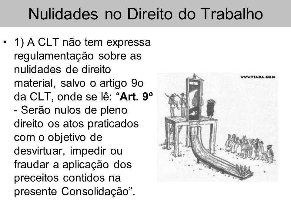 Nulidades no Direito do Trabalho 1) A CLT não tem expressa regulamentação sobre as nulidades de direito material, salvo o artigo 9o da CLT, onde se lê
