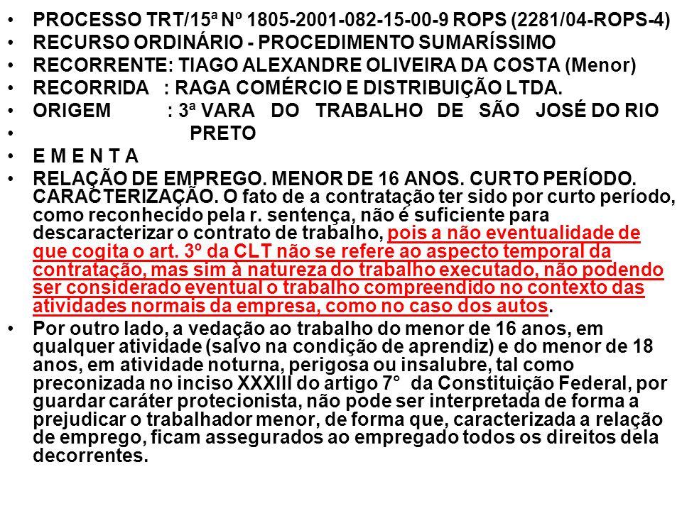 PROCESSO TRT/15ª Nº 1805-2001-082-15-00-9 ROPS (2281/04-ROPS-4) RECURSO ORDINÁRIO - PROCEDIMENTO SUMARÍSSIMO RECORRENTE: TIAGO ALEXANDRE OLIVEIRA DA C