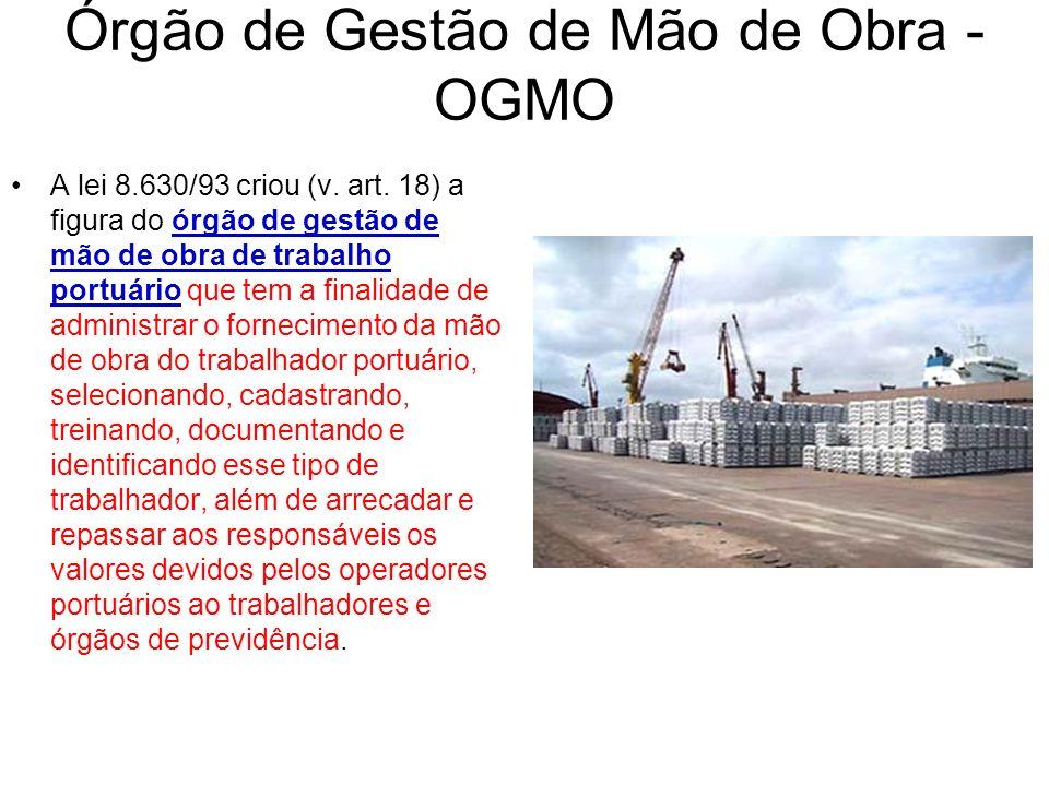 Órgão de Gestão de Mão de Obra - OGMO A lei 8.630/93 criou (v. art. 18) a figura do órgão de gestão de mão de obra de trabalho portuário que tem a fin