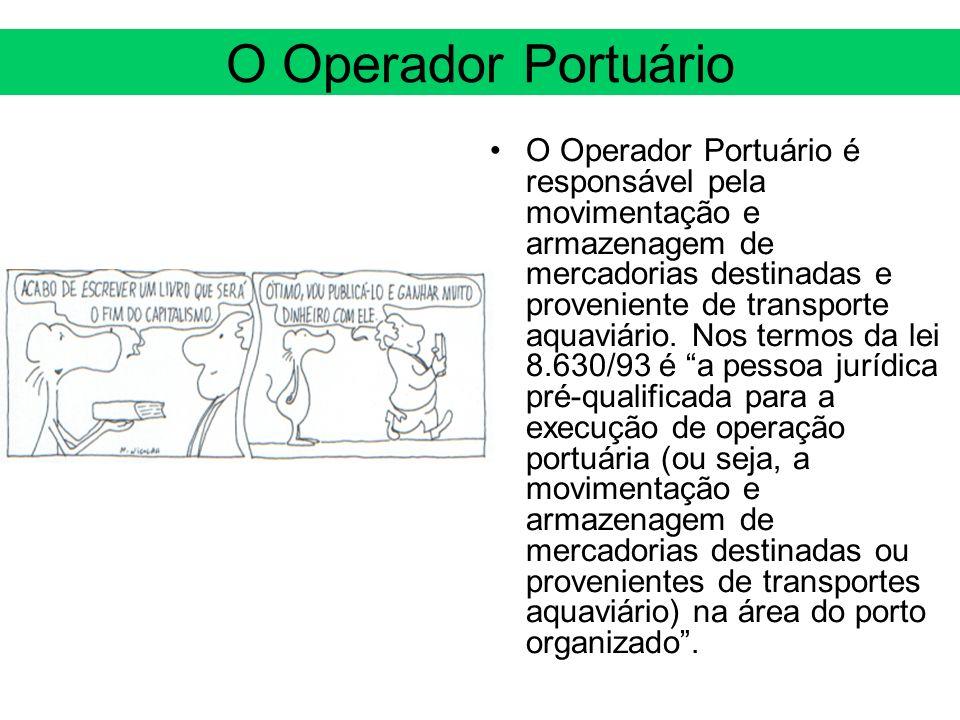 O Operador Portuário O Operador Portuário é responsável pela movimentação e armazenagem de mercadorias destinadas e proveniente de transporte aquaviár