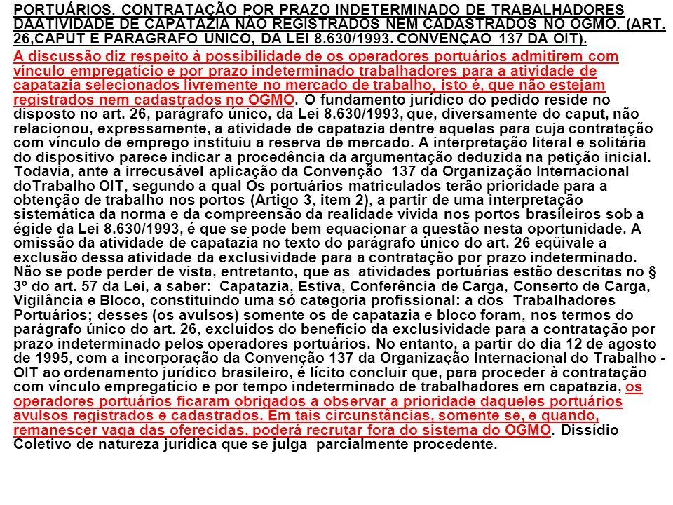 PORTUÁRIOS. CONTRATAÇÃO POR PRAZO INDETERMINADO DE TRABALHADORES DAATIVIDADE DE CAPATAZIA NÃO REGISTRADOS NEM CADASTRADOS NO OGMO. (ART. 26,CAPUT E PA