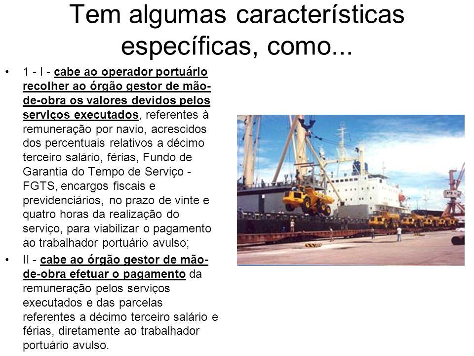 Tem algumas características específicas, como... 1 - I - cabe ao operador portuário recolher ao órgão gestor de mão- de-obra os valores devidos pelos