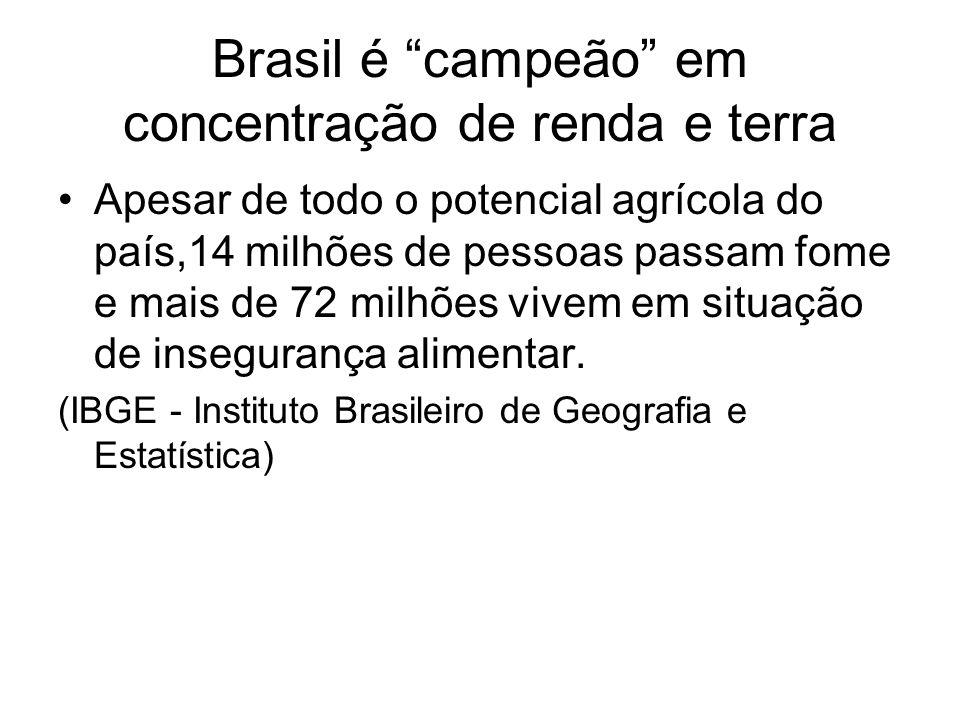 Brasil é campeão em concentração de renda e terra Apesar de todo o potencial agrícola do país,14 milhões de pessoas passam fome e mais de 72 milhões v