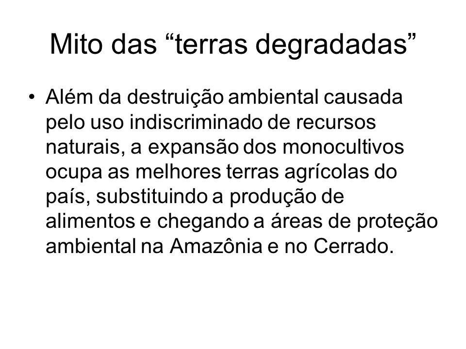 Mito das terras degradadas Além da destruição ambiental causada pelo uso indiscriminado de recursos naturais, a expansão dos monocultivos ocupa as mel