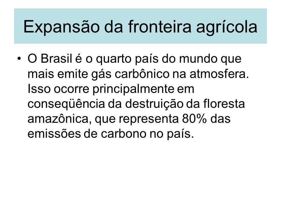 Expansão da fronteira agrícola O Brasil é o quarto país do mundo que mais emite gás carbônico na atmosfera. Isso ocorre principalmente em conseqüência