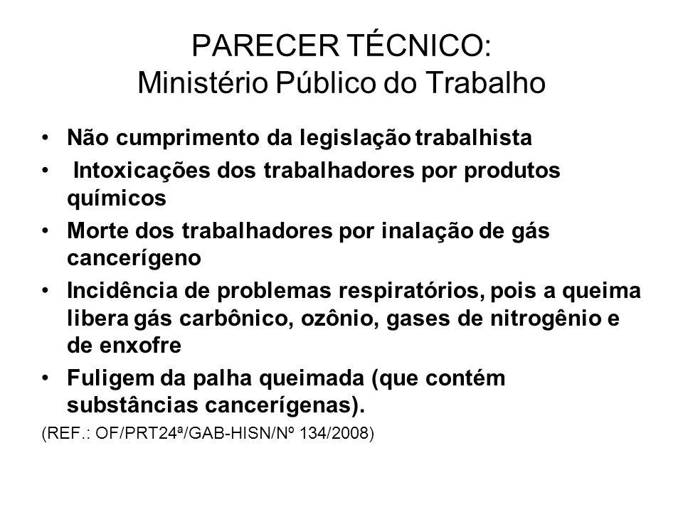PARECER TÉCNICO: Ministério Público do Trabalho Não cumprimento da legislação trabalhista Intoxicações dos trabalhadores por produtos químicos Morte d