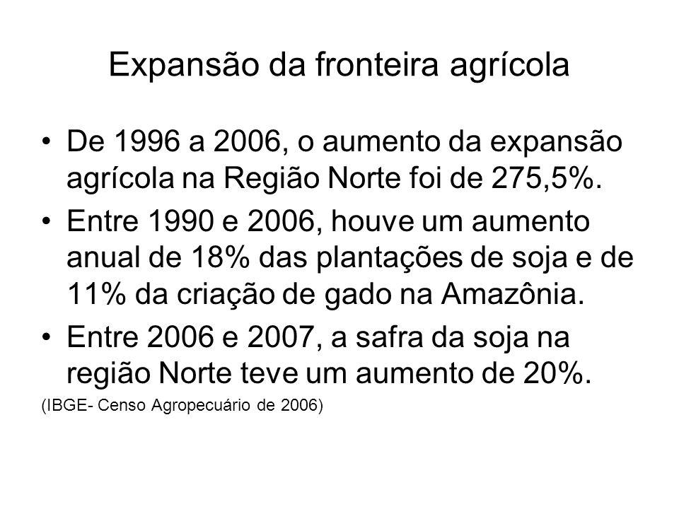 Expansão da fronteira agrícola De 1996 a 2006, o aumento da expansão agrícola na Região Norte foi de 275,5%. Entre 1990 e 2006, houve um aumento anual