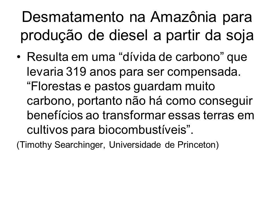 Desmatamento na Amazônia para produção de diesel a partir da soja Resulta em uma dívida de carbono que levaria 319 anos para ser compensada. Florestas