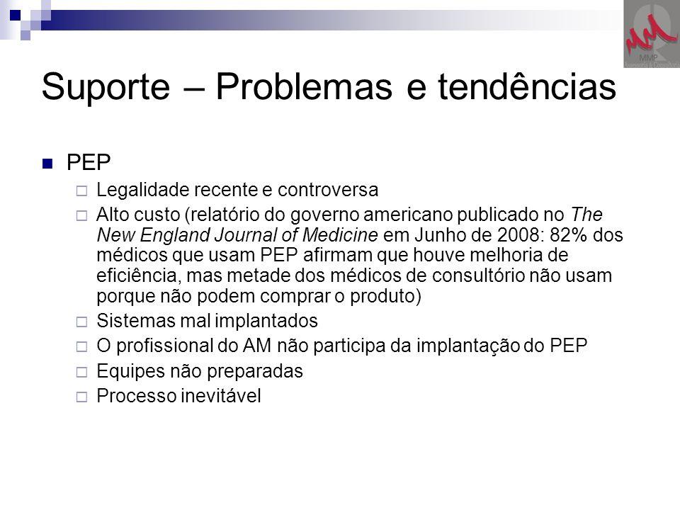 Suporte – Problemas e tendências PEP Legalidade recente e controversa Alto custo (relatório do governo americano publicado no The New England Journal