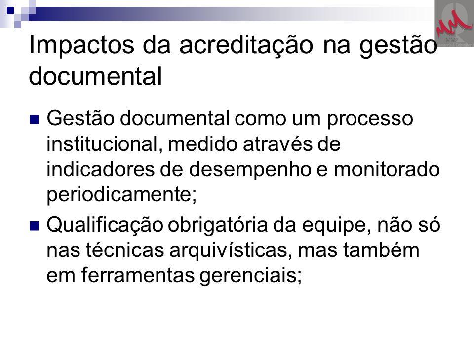 Impactos da acreditação na gestão documental Gestão documental como um processo institucional, medido através de indicadores de desempenho e monitorad