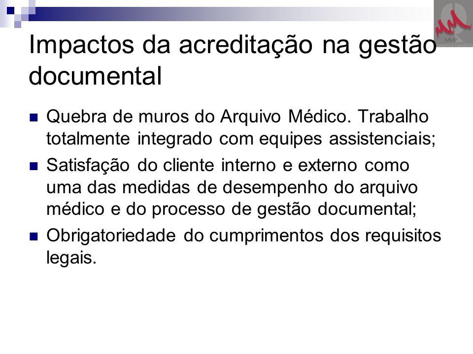 Impactos da acreditação na gestão documental Quebra de muros do Arquivo Médico. Trabalho totalmente integrado com equipes assistenciais; Satisfação do