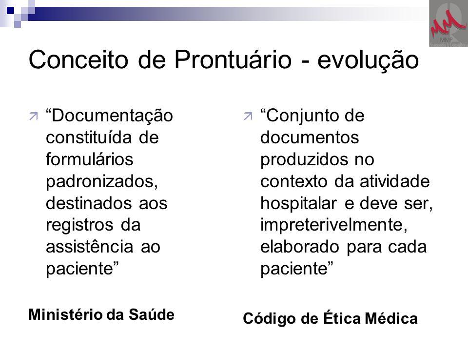 Conceito de Prontuário - evolução ä Documentação constituída de formulários padronizados, destinados aos registros da assistência ao paciente Ministér