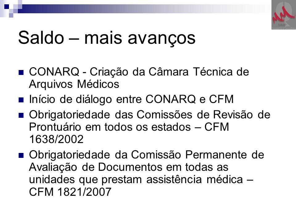 Saldo – mais avanços CONARQ - Criação da Câmara Técnica de Arquivos Médicos Início de diálogo entre CONARQ e CFM Obrigatoriedade das Comissões de Revi