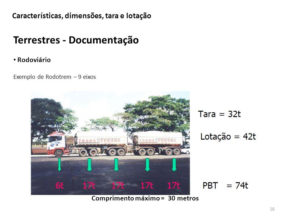 Características, dimensões, tara e lotação 16 Terrestres - Documentação Rodoviário Exemplo de Rodotrem – 9 eixos Comprimento máximo = 30 metros