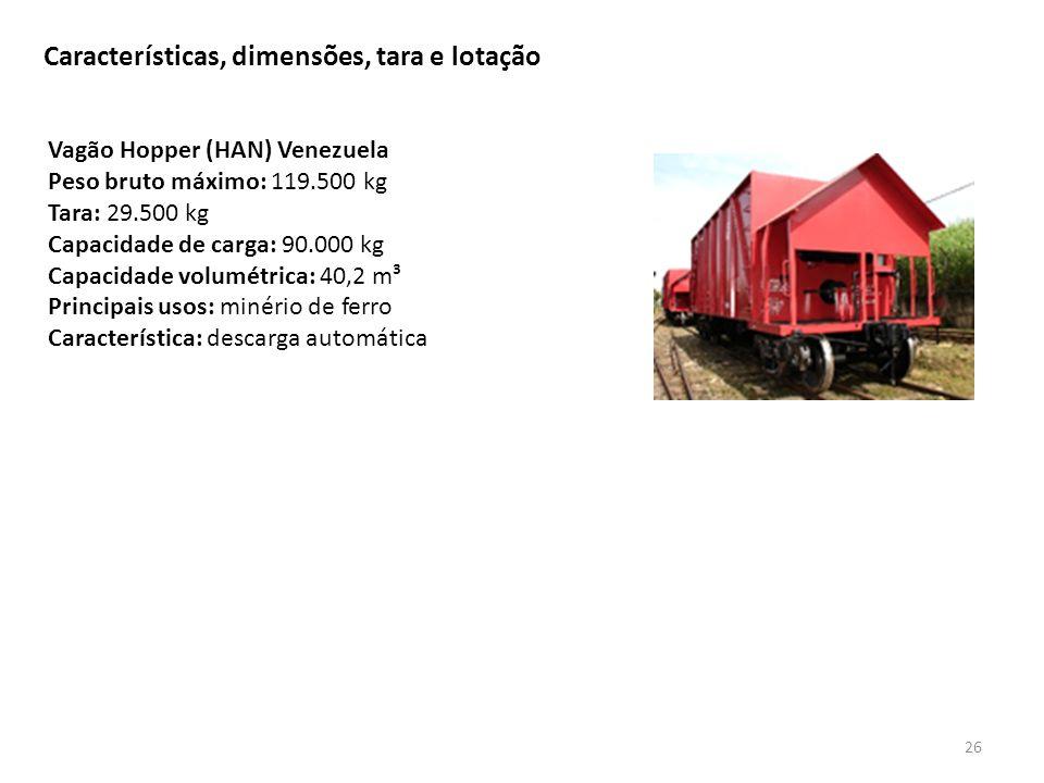 Características, dimensões, tara e lotação 26 Vagão Hopper (HAN) Venezuela Peso bruto máximo: 119.500 kg Tara: 29.500 kg Capacidade de carga: 90.000 k