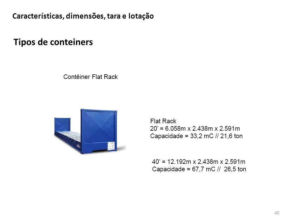 Tipos de conteiners 40 Características, dimensões, tara e lotação