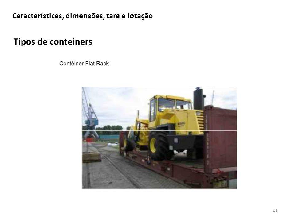 Tipos de conteiners 41 Características, dimensões, tara e lotação