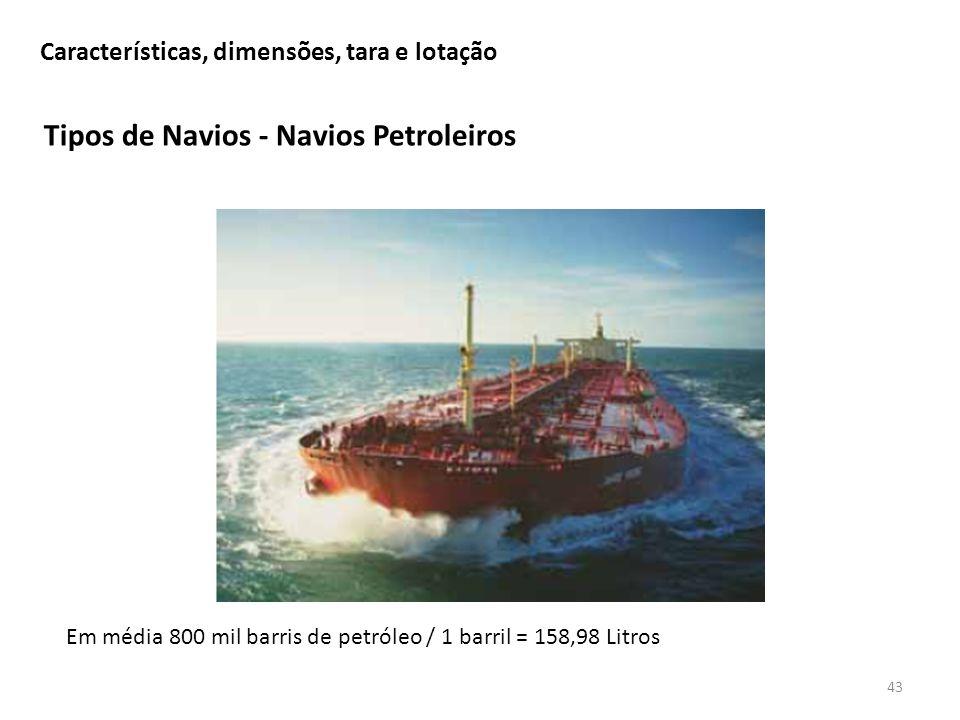 Tipos de Navios - Navios Petroleiros 43 Características, dimensões, tara e lotação Em média 800 mil barris de petróleo / 1 barril = 158,98 Litros